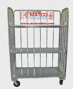 3 Shelf Folding Cart Industrial Shipping Stocking Cart
