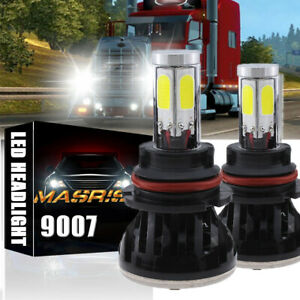 2pcs White Led 9007 High Low Dual Beam Headlight Bulb Lamp For Peterbilt 377 385