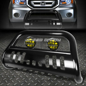 Black Bull Bar Grille Guard yellow Fog Light For 03 08 Honda Pilot 06 Ridgeline