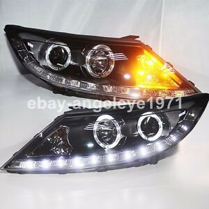 Headlights For Kia Sportage R Led Angel Eyes Front Lights 2009 To 2013 Year Ld