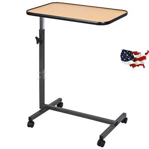 Home Hospital Overbed Food Tray Table Rolling Over Bed Laptop Desk W tilting Top