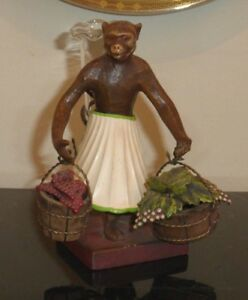 Vintage Petite Choses Iron Monkey Figurine With Baskets