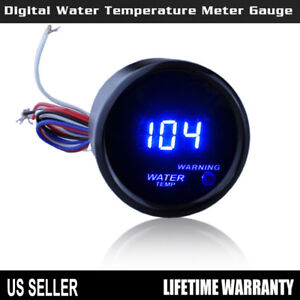 Car Universal 2 52mm Black Car Digital Blue Led Water Temp Gauge Fahrenheit F