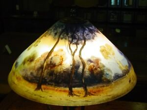 Antique Reverse Painted Table Lamp Pairpoint Co 18 Diameter 14631