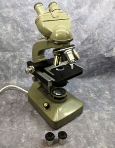 Olympus Binocular Microscope Model Khc Made In Japan W 4 Objectives 4 Eyepieces