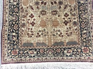 Authentic Vintage All Silk Tree Of Life Prayer Oriental Rug Fine Weave
