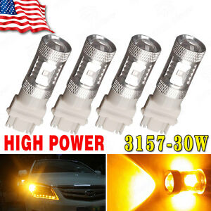 4x Amber Yellow 3157 4157 High Power 30w Tail Brake Stop Parking Led Light Bulbs