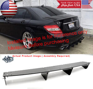 34 X 6 25 Shark Fin Abs Rear Bumper Splitter Diffuser Black For Vw Porsche