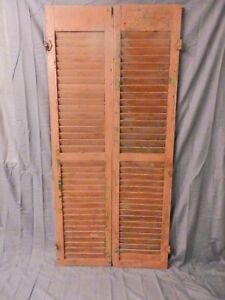 Pair Vintage House Window Wood Louvered Shutters 67x16 Shabby Old Chic 654 17p