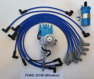 Ford 351w Windsor Blue Small Cap Hei Distributor 45 000 Coil spark Plug Wires