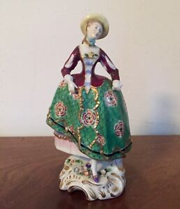Antique Porcelain Derby Type Figure 18th Century Country Lady German French