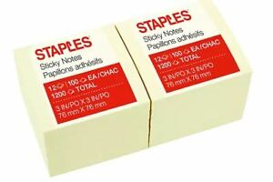 5 Orders Staples Stickies Self stick Removable Notes Blank 3 X 3 Yellow