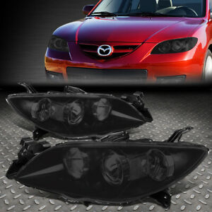 For 2004 2009 Mazda 3 Pair Black Housing Clear Corner Projector Euro Headlight