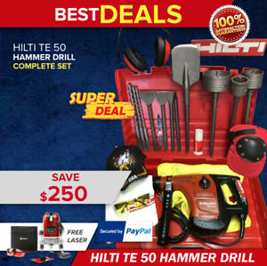 Hilti Te 50 Hammer Drill Preowned Free Laser Core Bit Extras Fast Ship