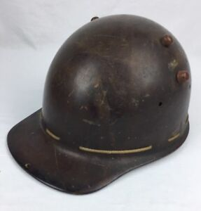 Vintage Brown Fiberglass Miners Hard Hat Fiberglass Strip Resin