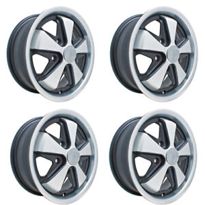 911 Alloy Wheels Black Silver 5 5 Wide 5 On 130mm Dunebuggy Vw