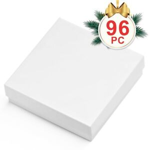 Mesha 96 Pcs Jewelry Boxes 3 5x3 5x1 Inches White Square Cardboard Boxes