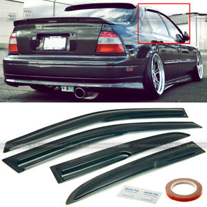 For 94 97 Accord 4dr Sedan Mugen Style 3d Wavy Black Tinted Window Visor 4 Pcs