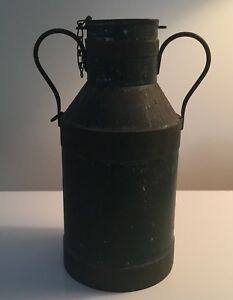 Small Antique 19th Century Dairy Cow Milk Cream Can Old Green Paint Metal Tole