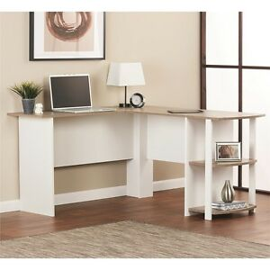 White Computer Corner L shaped Desk Home Office Student Workstation Furniture