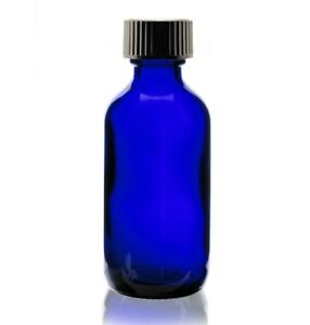 80 Pcs 2 Oz 60ml Cobalt Blue Boston Round Glass Vials With Cone Caps