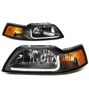 For 99 04 Ford Mustang Black Housing Amber Side Front Headlight W with Led Drl
