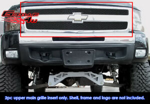 Fits 2007 2013 Chevy Silverado 1500 Stainless Steel Black X mesh Grille Inserts