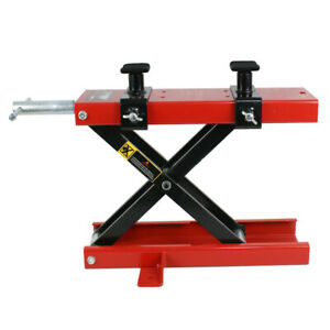 1100 Lb Dirt Bike Atv Scissor Jack Mini Motorcycle Lift Crank Floor Stand Red