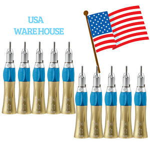 10 usa Dental Slow Low Speed Straight Nosecone Handpiece Fit Nsk E type Gold Yab
