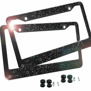 2 Black Metal Diamond Bling Glitter License Plate Frame Cover Crystal Rhinestone