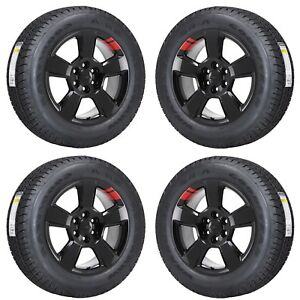 20 Silverado 1500 Truck Red line Black Wheels Rims Tires Factory Oem Set 4 5652