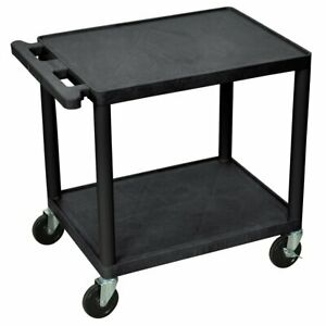 Luxor Lp26e b 26 inch Black 2 shelf A v Electric Rolling Utility Cart
