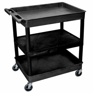 Luxor Tc121 b 3 shelf Black Large Tub flat Mobile Multi purpose Utility Cart