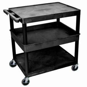 Luxor Tc212 b 3 Shelf Black Large Tub flat Top bottom Rolling Utility Cart