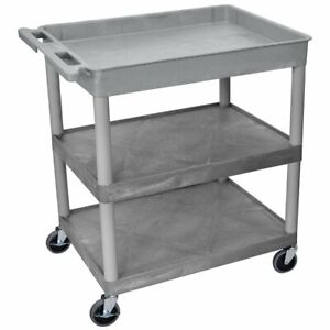Luxor Tc122 g 3 shelf Gray Large Tub flat Middle bottom Utility Cart