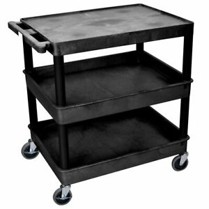 Luxor Tc211 b 3 shelf Black Large Tub flat Middle bottom Rolling Utility Cart