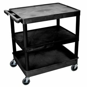 Luxor Tc221 b 3 shelf Black Large Tub flat Top middle Multi purpose Utility Cart