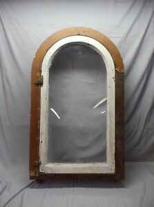 Antique Large Complete Arch Casement Window With Surround Frame Vtg 52x30 16 18p