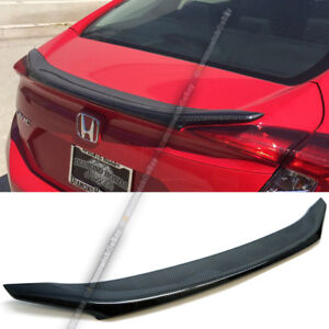 For 16 17 Civic 4dr Jdm Oe Style Real Carbon Fiber Rear Trunk Lip Wing Spoiler
