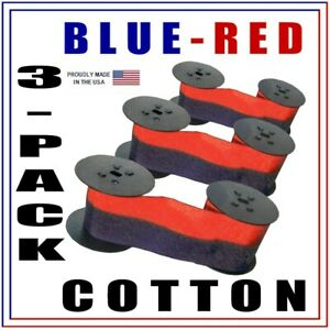 3 pack Lathem Time Clock 7 2cn Compatible Ink Ribbon Blue red Cotton For 2220