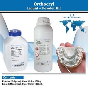 Dental Dentaurum Orthodontic Orthocryl Clear Acryl Resin Powder 1kg Liquid 1l