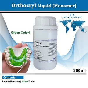Dental Dentaurum Orthodontic Orthocryl Clear Acryl Resin Liquid 250ml Green