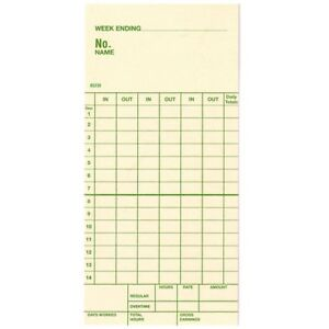 Time Cards Two week Top feed Form 85230 Replaces Simplex Form 1950 9143