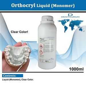 Dental Dentaurum Orthodontic Orthocryl Clear Acryl Resin Liquid 1000ml Clear