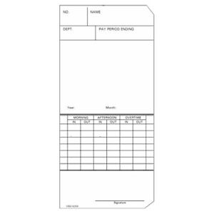 Time Cards Weekly top feed Form 1950 9259 Fits Simplex 300 Or 500 1000 Ct