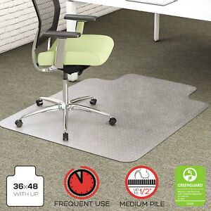 Deflecto Environmat Recycled Anytime Use Chair Mat Med Pile Carpet 36x48 W lip