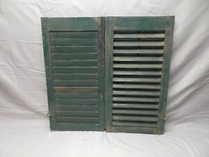 Pair Vtg Small House Window Wood Louvered Shutters Shabby Old Chic 29x16 34 18p