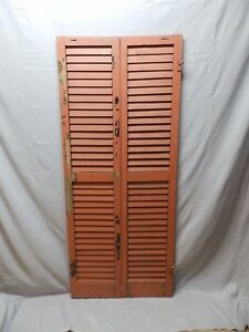 Pair Vtg Red House Window Wood Louvered Shutters Shabby Old Chic 67x14 44 18p
