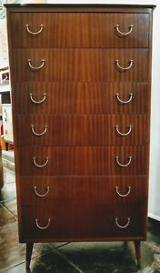 Mid Century Danish Modern Tall 7 Drawer Dresser Chest