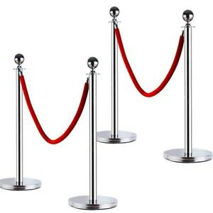 4pcs Stanchion Posts Queue Pole Retractable 2 Velvet Ropes Crowd Control Barrier